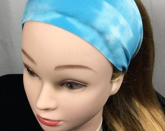 Sky Blue Boho Headband, Workout Headband - Fitness Wide Nonslip Headband, Boho Blue Headband, Fitness Headband,Head Wrap, Headband, Workout