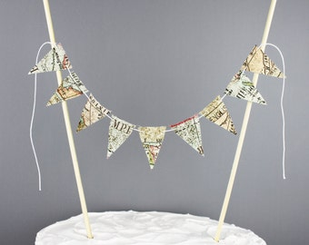 Map Print Cake Bunting, Travel Party Decoration, Vintage Style Map Cake Banner, Destination Wedding Cake Topper, Bon Voyage Centerpiece