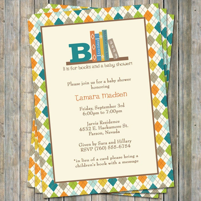 Book Baby Shower Invitation Boy in lieu of a card please