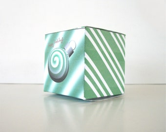 DIY Christmas Green Spearmint Gift Box Christmas Balls Printable Cube Favor Boxes