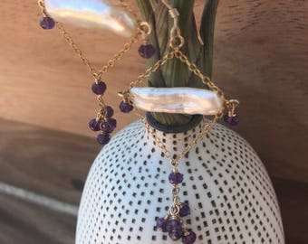 White fresh water pearl stick earrings with purple amethyst cluster