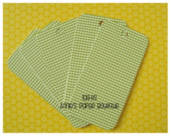 Green Gingham Hang Tags {25} - Parcel, Gift, Gift Giving, Cardstock, Blank Tag, Shipping, Inventory, Package, Treats, Favors, Showers
