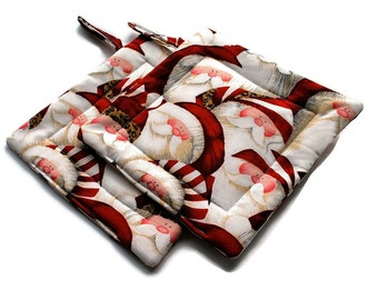 Santa Claus Pot Holders Christmas set of 2 Quilted Red White Potholders