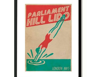 Parliament Hill Lido London Art Print