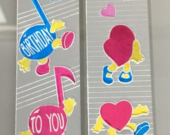 Vintage Cardesign Toots Dancing Hearts and Musical Sticker Strips