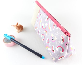 Pastel Rainbow Cute Pencil Case Girls Pen Case Pink Pencil Pouch Cloud Fabric Gift for Girl