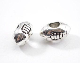 10pcs - Football Beads - European Football Bead - Beads - Jewelry Supplies - Bracelet - Jewelry Making Supplies - Antique Silver B8
