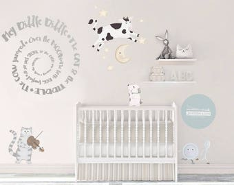 Hey Diddle Diddle Nursery Decal Set, cat fiddle, cow, moon, little dog, baby, kids, hand painted, Reposition-able fabric, Wall, decal