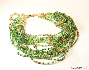 Green Seed Bead Choker Necklace, Vintage Choker, Green Bead Choker, 1970 Green Necklace, Multi Strand Bead Necklace Christmas Gift