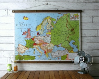 Map of Europe / Wood Poster Hanger with Canvas Fabric Print / Pull Down Chart Vintage Reproduction / Wall Hanging / Framed Art /Brass