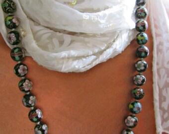 Vintage cloisonne necklace, Asian cloisonne beads, 12mm beads 15 to 7 inches, Knotted cloisonne beads, Cloisonne flowers beads