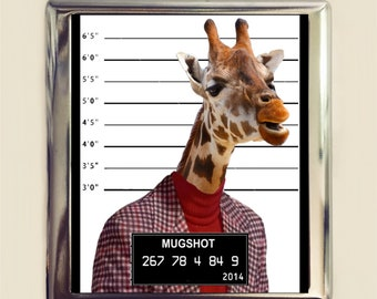 Giraffe Mugshot Cigarette Case Business Card ID Holder Wallet Pop Art Animal Art Anthropomorphic
