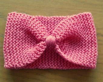 Retro Pink Bow Headband/Earwarmer