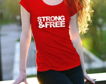 Strong and Free Canada Women's tshirt grunge maple leaf