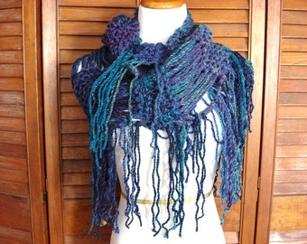 fringed scarf, chunky infinity scarf, hand knit,  in shades of the caribbean sea, very soft, ready to ship