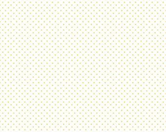 Yellow Polka Dot Fabric - Riley Blake Swiss Dot Fabric - Yellow and White Polka Dot Fabric By The 1/2 Yard
