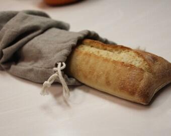 Linen Bread Bag, Beige Linen, Baguette, Drawstring Bag