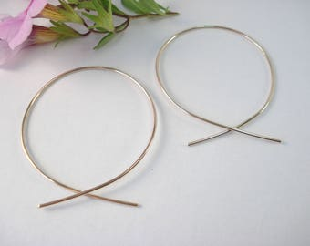 14k Gold Fill, Hoop Earring, Hugs, Kisses, Gift, Love, Give Back