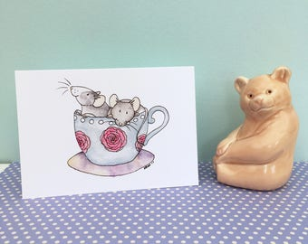 Time for tea, rats mice in tea cup, A6 blank greeting card, watercolour illustration, rat gift, mouse gift, white envelope inc, sweet card
