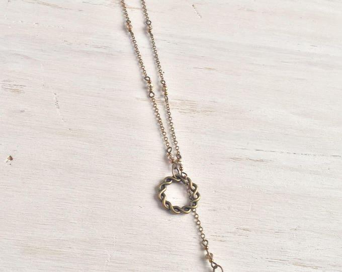 Bronze Beaded Slip on Lariat with Cross, Delicate jewelry, Lariat necklace, Y necklace, beaded jewelry
