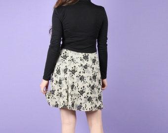 90s Vintage Skirt // Vintage Mini Skirt // 90s Skirt Floral Skirt 90s Chiffon Floral Skirt Size Small S