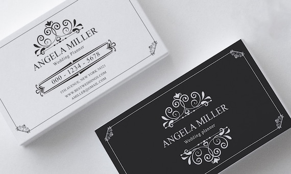 Elegant business card template modern business card design elegant business card template modern business card design custom black and white instant download business card printable wedding planner wajeb Choice Image