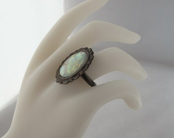 Opalescent White Resin Adjustable Costume Jewelry Ring