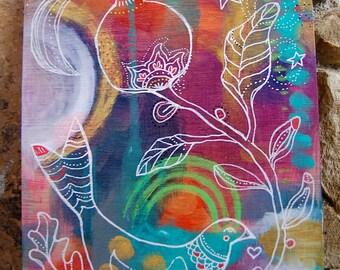 Pomegranate Bird / Mixed Media Painting