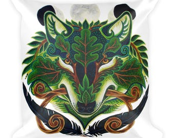 Green Wolf Green Stag Square Pillow