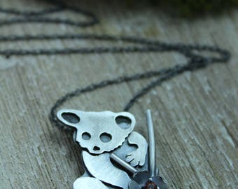Bushbaby Necklace, Sterling Silver Animal Pendant,  Galago Pendant, Birthstone Pendant, Rustic Silver Necklace,Made to Order