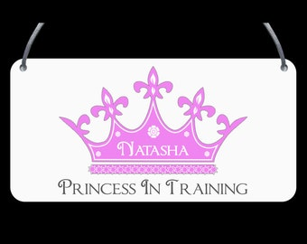 Princess In Training Door Plaque - Child's name, Personalised, Wall Sign, Girls, Boys - FREE POSTAGE