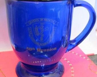 Vintage Cobalt Blue School of Medicine 50th Reunion Case Western Reserve University 1843 (*)