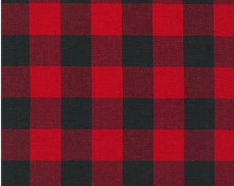 Buffalo Plaid in Red and Black Checks 1 Inch Checkers Robert Kaufman Fabric Carolina Gingham Lumberjack NOT Fleece NOT Flannel
