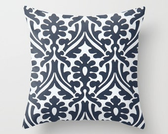 Navy Pillow cover Damask Pillow Cover Decorative Pillow Cover Couch Pillows Size Choice