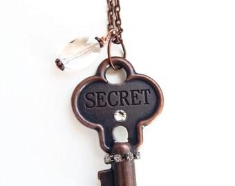 Alida - antique copper key necklace - secret key - shabby key necklace - key charm necklace