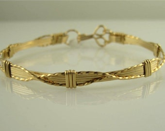 WSB-1154 14K Gold Filled Wire Wrapped Bangle Jewelry in 14k Gold Filled