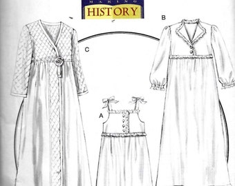 Butterick B5544 Pattern Civil War Nightgown Robe Slippers Making History Sewing Costume Size Large and XLarge