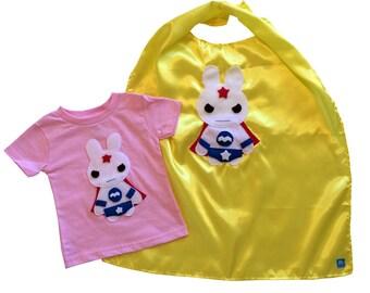Superhero Cape and Kids Shirt Combo - Team Super Animals - Star Bunny pink T-Shirt & Yellow Cape