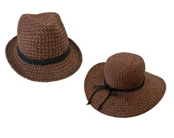 A Pair of Perfectly Matched Unique Handmade Straw Hats