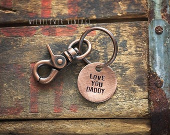 Love You Dadddy Dad keychain | hand stamped Father's Day New Dad gift Copper Black Lobster Clasp Metal
