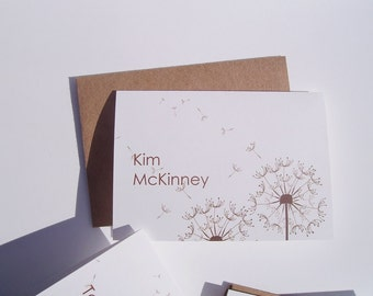 Personalized Note Cards - Dandelions, Personalized Stationery, White Brown Dandelion Note Cards, Personalized Card Set, Botanical Garden