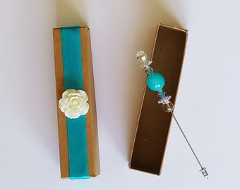 Aqua bead stick pin