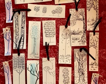 Handmade Bookmarks, PaintATreeADayART by BeckyPaints. Pen & Ink Drawings on Heavy Watercolor Paper, Sm n Lg size ART