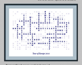 Personalized travel list crossword style print | wall art decor | customized travel print | traveler gift | custom destination list poster