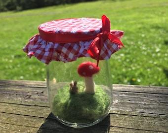 Miniature Terrarium Scene Bunny and Red Spotted Mushroom