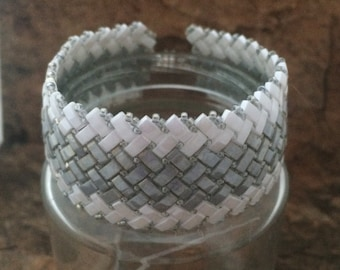 Handmade Half Tila Herringbone Cuff in Silver and White