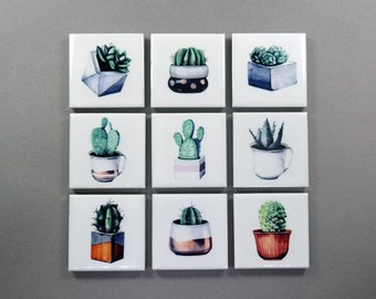 Cactus Refrigerator Magnets Cute fridge Magnets Gift for Her (Set of 9)