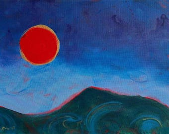 Oregon Eclipse Mary's Peak original abstract landscape painting