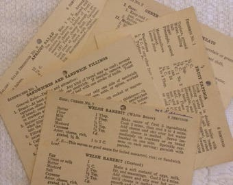 "Recipe Cards, Vintage 1929  - ""Bell Recipe File"" (5 cards)"