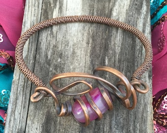 Copper and Pink  Agate Wire Bracelet - Copper Jewelry - Wire Wrapped Artisan Jewelry - Pink Jewelry